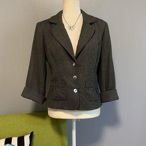 WHBM Black & White Tweed Cropped Blazer